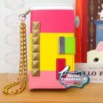 Pink Color Block Studded I..
