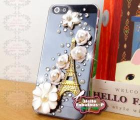 Rhinestone iPhone 5 Case Floral iPhone Case Phone Case Studded iPhone 5 Case Flower Ballet Personalized Cover