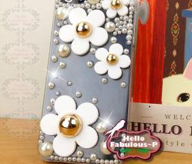 Beads Studded iPhone 5 Case Cover Floral iPhone Case Cell Phone Cover Flower Plastic Bling personalized Case Cover