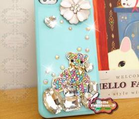 Bling iPhone 5 Case Studded iPhone 5 Cover Crystal Rhinestone Cell Phone Case Floral Plastic Cover Bear Personalized Case
