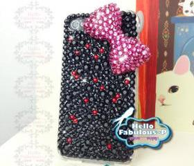 Cute Bow Case Kitty Bow iPhone 4s Case studded iphone 4 case Bling iphone 4s case Plastic iphone Hard Case