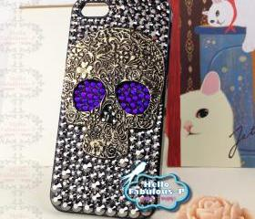 iPhone 5 Case Skull iphone case Studded iphone case Plastic Hard Cover Skull Bling Purple Eyes Luxury Crystal Rhinestone