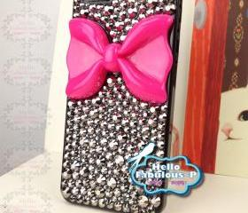 Bow iPhone 5 Case Rhinestone iPhone 5 Case Crystals Bling iphone case Studded iPhone 5 Case Hot Pink Bow iphone case