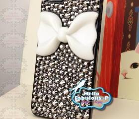 Bow iPhone 5 Case Rhinestone iPhone 5 Case Crystals Bling iphone case Studded iPhone 5 Case White Bow iphone case
