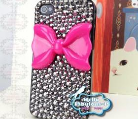 Bow iPhone 4 Case Rhinestone iPhone 4s Case Crystals Bling iphone case Studded iPhone 4 Case White Bow iphone case