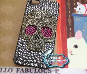 iPhone 5 Case Silver Skull Studded iphone case Plastic Hard Cover Skull Bling Red Eyes Luxury Crystal Rhinestone