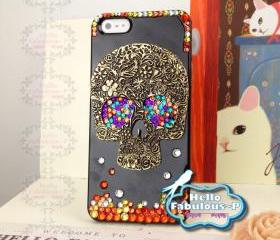 Skull iPhone 5 Case Skull iPhone Case Studded iPhone Case Studded iPhone 5 Case Rhinestone iPhone Personalized Phone Case Cover