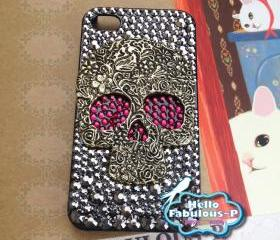 iPhone 4 Case Silver Skull Studded iphone 4s case Plastic Hard Cover Skull Bling Red Eyes Luxury Crystal Rhinestone
