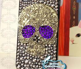 iPhone 4 Case Silver Skull Studded iphone 4s case Plastic Hard Cover Skull Bling Purple Eyes Luxury Crystal Rhinestone