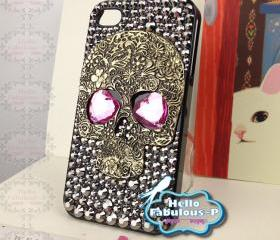 iPhone 4 Case Silver Skull Studded iphone 4s case Plastic Hard Cover Skull Bling Heart Shape Eyes Luxury Crystal Rhinestone