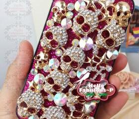 Bling iPhone 4 Case Pink Glitter Plastic Hard Case Studded iPhone Case Studded iPhone 4s Silver Skull iPhone Case Skull iPhone 4 Case