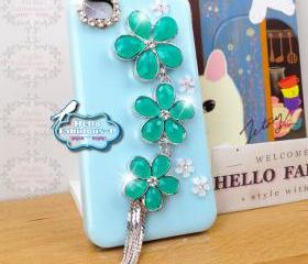 Floral iPhone 4 Case Cover Plastic Blue iPhone 4s Case Cover Studded Floral Cover With Rhinestone Camera Lens Trim