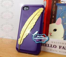 Purple iPhone 4 Case Rhinestone Studded iPhone 4s Case Studded Plastic Cover Phone Case Feather Case Cover