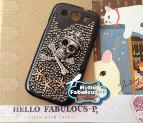 Samsung Galaxy S3 S 3 i9300 T999 i747 l710 i535 Phone Case Personalized Skull Galaxy Studded Galaxy Case Cover