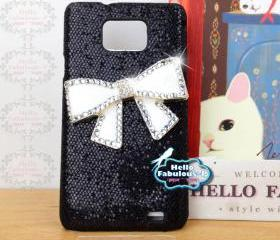 Studded Galaxy S2 Case Bow Personalized Phone Case Glitter Plastic Galaxy S2 Case Samsung Galaxy S2 i9100 Case Cell Phone Case Cover