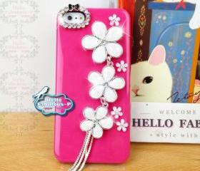 Floral iPhone 5 Case Cover Plastic Hot Pink iPhone 5 Case Cover Studded Floral Cover With Rhinestone Camera Lens Trim