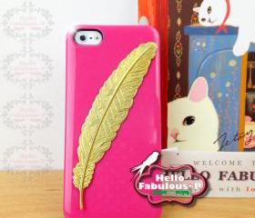 Hot Pink iPhone 5 Case Rhinestone Studded iPhone 5 Case Studded Plastic Cover Phone Case Feather Case Cover