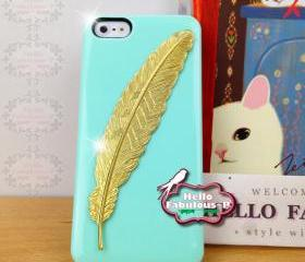 Green iPhone 5 Case Rhinestone Studded iPhone 5 Case Studded Plastic Cover Phone Case Feather Case Cover