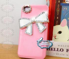 Personalized Phone 4 Case Studded iPhone 4 Case Studded Plastic Cell Phone Case Cover Bow iPhone Cover