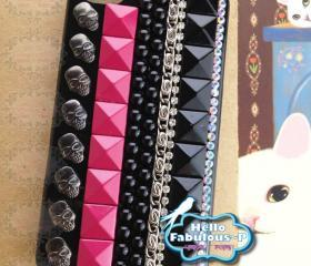 Chain Bead Studded iPhone 4 Case With Black Pink Studs Skull iPhone 4 Cell Phone Case Personalized Case Cover