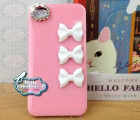 Studded iPhone 4 Case Pink Light Plastic Case Personalized Phone Cover Rhinestone iPhone 4s Kitty Bow Camera Lens Trim