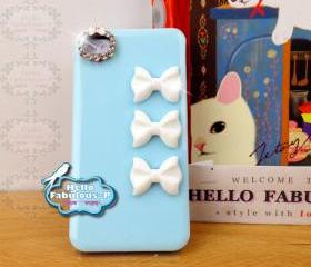 Studded iPhone 4 Case BLUE Plastic Case Personalized Phone Cover Rhinestone iPhone 4s Kitty Bow Camera Lens Trim