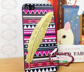 Feather Phone Case Geometric iPhone 5 Case Plastic Cell Phone Case Cover Personalized Hard Case - Pink