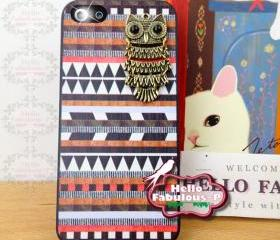 Owl Phone Case Geometric iPhone 5 Case Plastic Cell Phone Case Cover Personalized Hard Case - Brown
