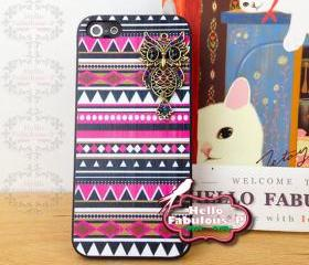 Owl Phone Case Geometric iPhone 5 Case Plastic Cell Phone Case Cover Personalized Hard Case - Pink